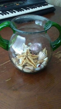 Large Glass Urn filled with shells and a starfish