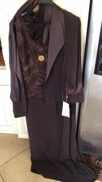 Mother or Son if the bride dress. Chocolate brown with shawl and Jacket tags are still on. Size 20. I also will give the shoes and matching bag shoes are a 9. 1/2 Haledon, 07508