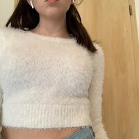 White Long sleeved Cropped Top Haimhausen, 85778