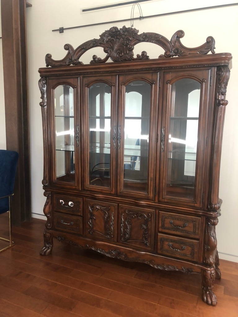 Large Solid Wood U0026 Glass Armoire