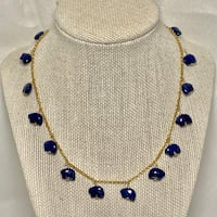 14k Gold Filled Necklace with Lapis Lazuli Pendants Chantilly, 20151
