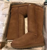 pair of brown UGG boots in box