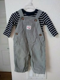 gray overall and blue with white long sleeve shirt San Diego, 92115