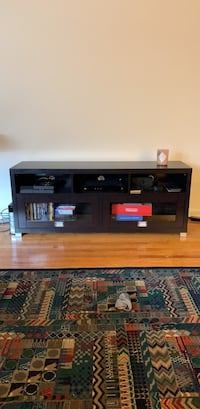 black flat screen TV with black wooden TV stand Washington, 20003