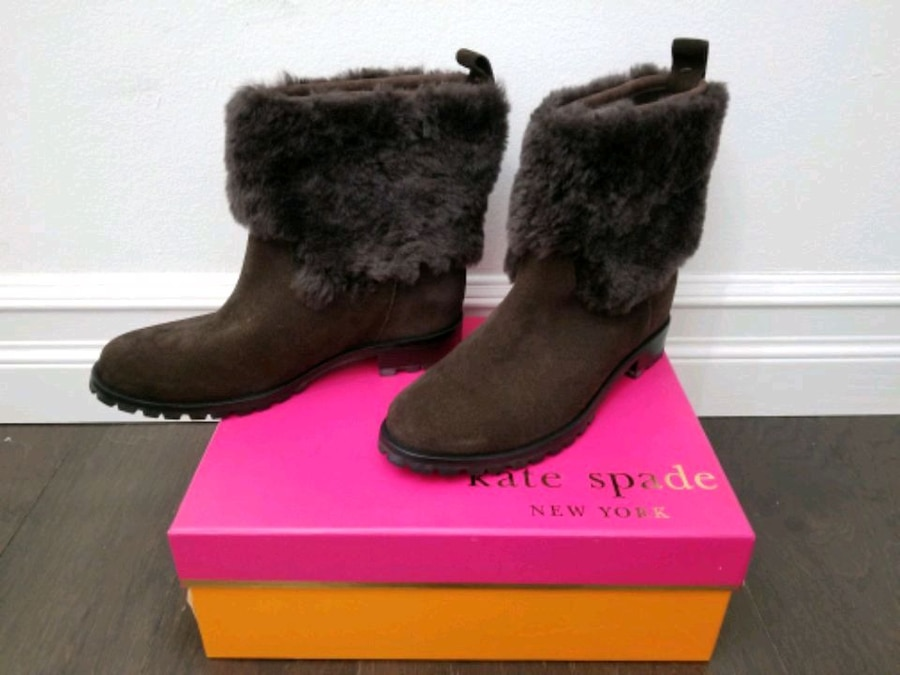 Photo NEW Kate Spade New York Sari Brown Suede Ankle Boots Size 6.5