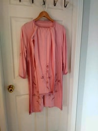 pink floral scoop-neck long-sleeved mini dress Mercier, J6R 1H6