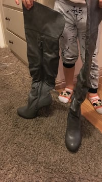 Pair of gray leather heeled slouchy thigh-high boots Sandy, 84070