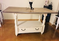 Counter Height Dinning table off white w/ dark wood top and storage drawer at bottom Harker Heights, 76548
