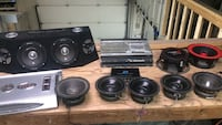 black and gray subwoofer speakers