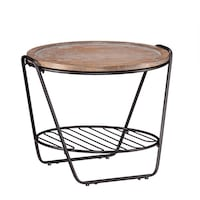 Wood & Metal Side Table / End Table with Removable Table Top Denver
