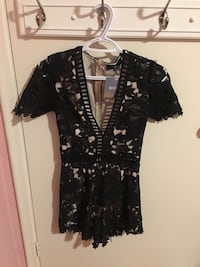 MISSGUIDED black and nude romper with floral detailing Toronto, M1P