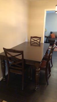 rectangular brown wooden table with six chairs dining set Harpers Ferry, 25425