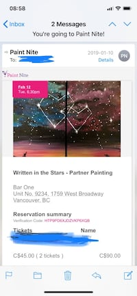 Paint nite two tickets Surrey