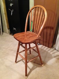 Brown wooden windsor armless chair