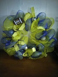 green and blue mesh wreath