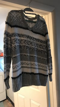 gray and black striped scoop-neck sweater