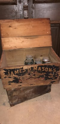 Brown wooden chest box with lid. James D . Mason  Baltimore, 21224