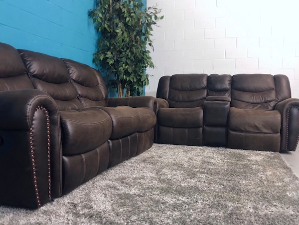 Brilliant 2Pc Brown Leather Double Recliner Sofa And Loveseat Set Free Delivery Beutiful Home Inspiration Cosmmahrainfo