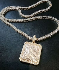 Diamond square gold tone ice out crystal chain