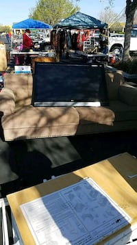 Brown couch 2-seat sofa