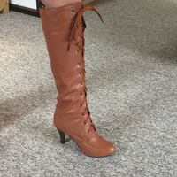 Pair carmel coloured pleather boots-size 7 Coquitlam, V3J 1T4