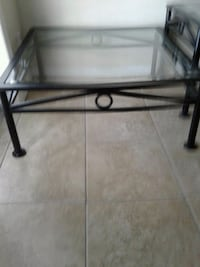 Square cast iron glass top table w Saint Petersburg