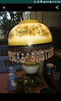 white, green, and yellow floral ceramic table lamp Upland, 91786