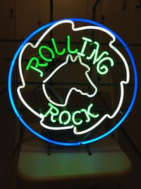 rolling rock white green and blue neon signage