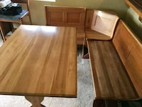 Wood dining table with benches.  Columbia City, 97018
