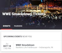 WWE Friday Night Smackdown Tickets (Pair of 2) Indianapolis, 46214