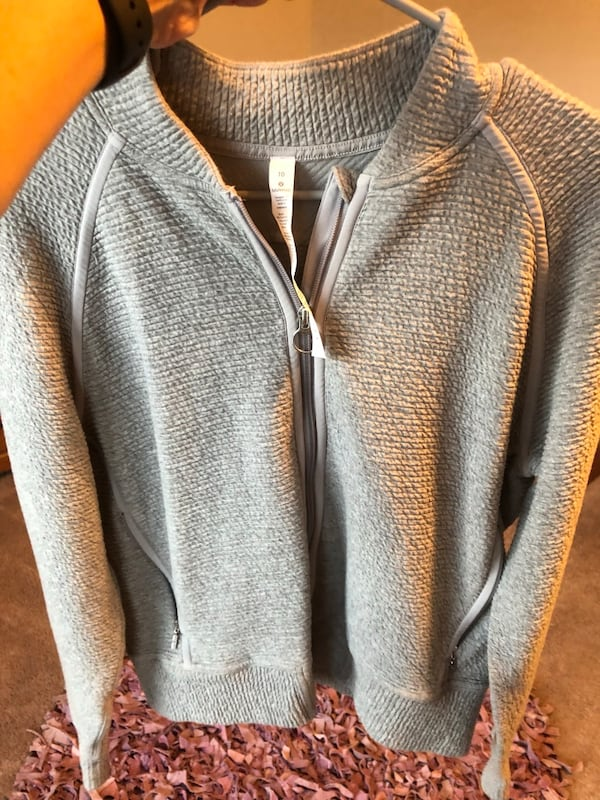Lululemon women's zip up gray sweater. 64a313f0-25fe-49b0-a8e6-c8d2de92d8b0