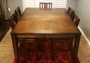 SOLID WOOD dining set w/chairs, gently used