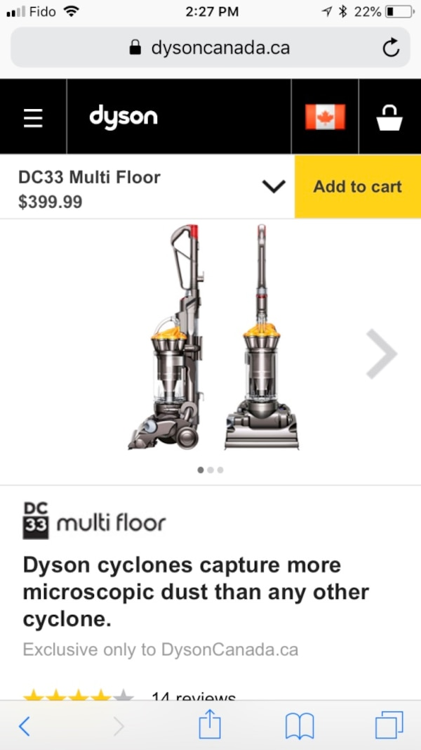 Dyson DC33 Multi Floor Vacuum Never Used Floor Model