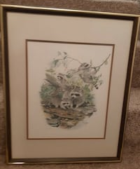 Glen Loates Framed Print - Charming print of Racoons at play.   Profes Newmarket