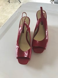 Pair of red leather peep-toe heeled sandals size 8 Surrey, V4P