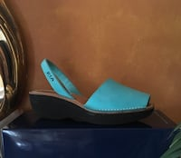 Unpaired blue and black open toe wedge Norwalk, 06854