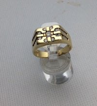 14kt yellow gold ring size 9.5 7.7 gr with 21 round diamonds 0.75 carat . 849165-1 Baltimore, 21205