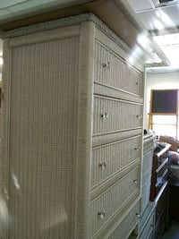 White wicker chest dresser hamper and mirror