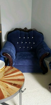 blue and brown fabric sofa chair Whitby, L1R