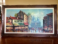 Original oil painting , street scene Montmartre, Paris . Width :55 inches , height : 31 inches, depth : 1 inch. Hardwood carved frame . Toronto
