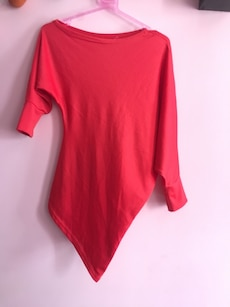 Asymmetrical red off shoulder top