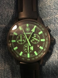 round black and green chronograph watch with black leather strap Los Angeles, 90037