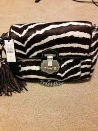 black and white zebra print leather wristlet Union Bridge, 21791