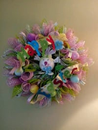 pink mesh ruffle Easter bunny wreath Owosso, 48867