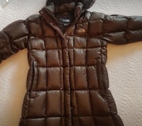 Quilted brown the north face zip-up bubble hoodie