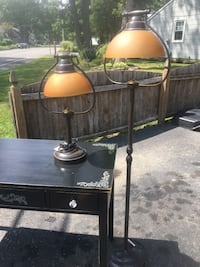 Brown table and floor lamps with glass shade. Point Pleasant, 08742