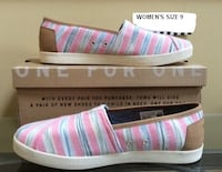 BRAND NEW IN BOX WOMEN'S TOMS AVALON PEONY IKAT PINK/BLUE STRIPE TEXTILE SLIP ON'S, SIZE 9. Original MSRP $60.00. This style is no longer available at TOM'S. CORNELIUS