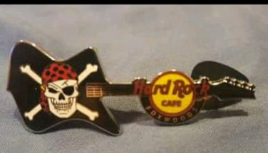 Hard Rock Cafe - Foxwoods Casino- Jolly Roger Guitar Pin