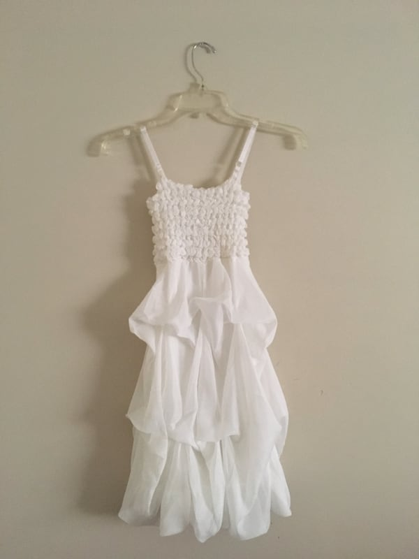 White ruffled spaghetti strap dress  0