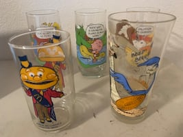 5 Total Drinking Glasses 3 Peanuts 1 McDonald 1 Road Runner